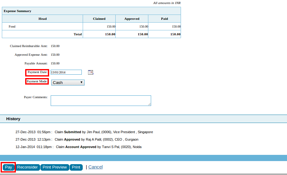 how to pay expense claims in xero
